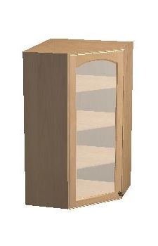 "24"" x 42"" Diagonal Corner Wall Cabinet w/ a Plain Glass Door - Arbor White"