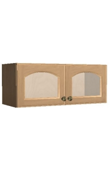 "30"" x 12"" Wall Cabinet w/ a Beveled Glass Doors - Winter Shaker"