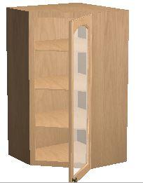 24 X 42 Diagonal Corner Wall Cabinet W A Beveled Glass Door